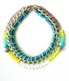 NeonSpine neon necklace bib necklace tribal rope by nutcasefashion, $64.00