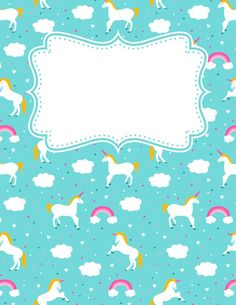 Free printable unicorn binder cover template. Download the cover in JPG or PDF format at http://bindercovers.net/download/unicorn-binder-cover/