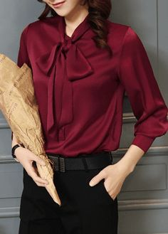 Long Sleeve Bowknot Neck Wine Red Blouse