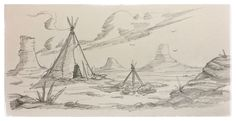 23 #tipi #tepee #teepee #native #american #sketch #drawing #background #landscape #cartoon #conceptart #mikephillipsart #gallery #art