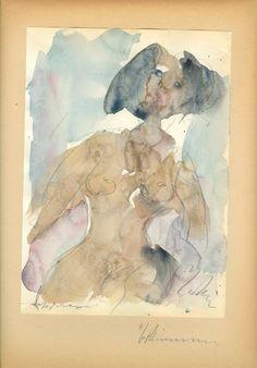 Nude, watercolour, George Bouzianis Watercolor, Painter, Painting, Greek Art, Art, Color Of Life, Color