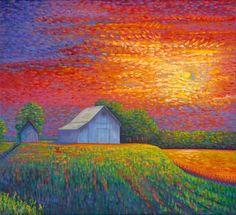 paintings of harvest moon images | Domont Studio Gallery | Paintings: Landscapes | Harvest Moon Rising