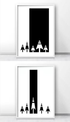Modern Scandinavian Black And White Wall Art Print, Modern Forest Trees Printable Wall Art by LimitationFree on Etsy
