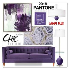 """""""2018 Pantone Color of the Year: Ultra Violet"""" by theseapearl ❤ liked on Polyvore featuring interior, interiors, interior design, home, home decor, interior decorating, Jennifer Taylor, pantone, lampsplus and ultraviolet"""