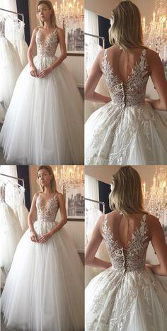 Tulle Wedding dresses, Ivory Wedding Dresses, Bridal Wedding Dresses, Long Wedding Dresses, Ivory Wedding Dresses Floor-length Appliques Tulle Bridal Gown
