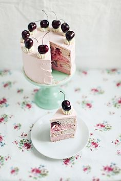 Cherry vanilla cake with swiss meringue buttercream