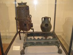 Bronze brazier, iron stove with water (type radiator), chafing-dish, from House of Faun at Pompeii - Naples, Archaeological Museum