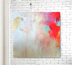 Gold Leaf Original Canvas Art, Abstact Painting, pink, aqua, red, Large Wall Art, Quick Shipping, Texture Art