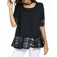 12.71$  Watch here - http://dit56.justgood.pw/go.php?t=177483302 - Sweet Half Sleeve Round Neck Bowknot Design Spliced Chiffon Blouse For Women 12.71$