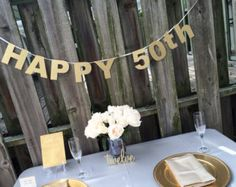 Happy 50th Banner, Glitter Banner, Happy Birthday Banner, Birthday Party, Glitter Paper, Party Decoration, 40th, 30th, 20th, Gold Glitter Happy 50th Birthday, Happy Birthday Banners, Birthday Parties, 50th Birthday Decorations, Table Decorations, Gold Glitter, 30th, Party, Gifts