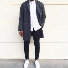 grey, black & white | grey coat | white button down shirt | black pants | white shoes | fresh, modern, minimal || The Fifth Watches