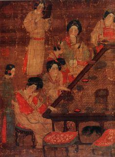 《唐人宫乐图》局部