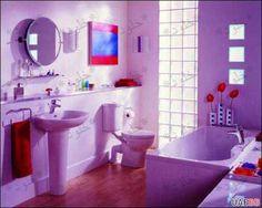 Purple Bathroom Country Bathroom Vanities, Bathroom Decor Sets, Bathroom Trends, Bathroom Kids, Bathroom Colors, Bathroom Interior, Teenage Bathroom, Bathroom Designs, Bathroom Modern