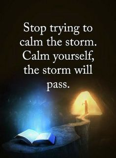 Quotes Stop trying to calm the storm. Calm yourself the storm will pass.
