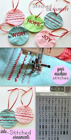 So cute!  Make these Stitched Felt Ornaments using your sewing machine stitches!  Great for gift tags too.