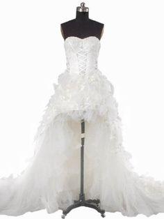 Landybridal 2013 Sweetheart Brush Train Ivory Asymmetrical High Low Wedding Dress LD0845