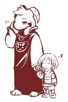 some random undertale au. where adult Asriel is the one who found Frisk and the guardian of the Ruins