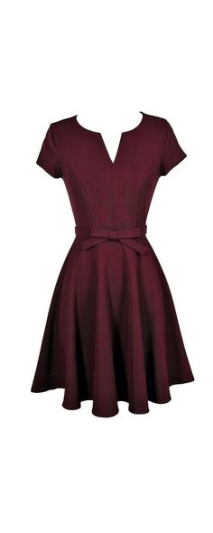 Bow Front Capsleeve A-Line Textured Dress in Burgundy  www.lilyboutique.com