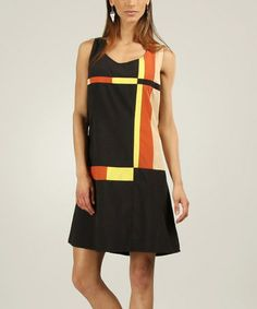 Look what I found on #zulily! Black & Yellow Mod Sleeveless Dress by L33 by Virginie&Moi #zulilyfinds