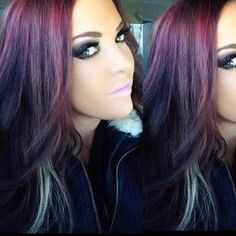 ♥purple and red with blonde peekaboo