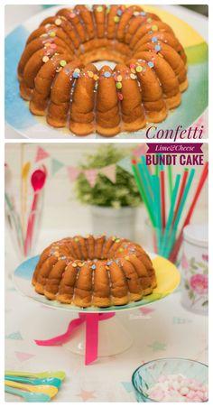 #BundtBakers: Confetti Lime & Cheese Bundt Cake [Bizcocho de Lima y Queso con Confetti] - www.Bizcocheando.com