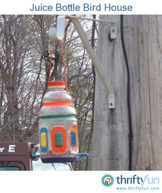 I made this bird feeder from a juicy juice container.  All I did was  cut out the holes in the side (hot glue around the sharp edges) and some holes for the string (nylon) and the dowel rods.  Paint it with acrylic paints that are waterproof.