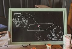 Custom chalkboard signage is a personal favorite trend especially when it dons a sweetly illustrated love map #cedarwoodweddings Rustic Pastel Wedding :: Sydney+Nick   Cedarwood Weddings