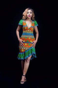 Orange and Green Highlow Ankara Midi Dress Ankara Midi African Wear Dresses, Latest African Fashion Dresses, African Print Fashion, African Attire, Trendy Ankara Styles, Ankara Gown Styles, Ankara Dress, Robes Ankara, African Lace