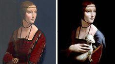 Dame à l'hermine, portrait de Cecilia Gallerani, une des maîtresses du duc de Milan Ludovic Sforza,  Vinci, Musée Czartoryski de Cracovie   Le laboratoire parisien d'expertises Lumiere Technology a mis à jour les secrets cachés de l'œuvre de Léonard. À partir d'un portrait traditionnel, l'artiste a rajouté une hermine tenue par une main délicate et amplifiée. La tête de l'animal, mise en valeur à droite par un voile bleu, prolonge l'angle du corsage de la jeune aristocrate.