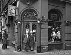 Freeds_Shop- Frederick & Dora Freed outside their shop in St Martin's Lane.