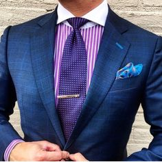 Great color shirt and tie+ pocket square...