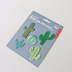 Set of 5 cactus iron on patches. Brighten up t-shirts, jeans, or any other garment with these beautifully designed iron-on cactus patches! Just peal the protective layer paper, stick to the fabric and press with a hot iron until applied.