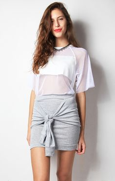 MESH & LEATHER TOP - WHITE