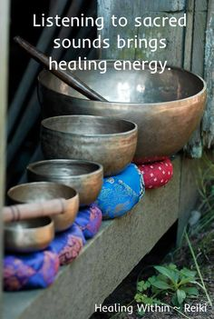 "Healing vibrations  Sound Healing works on the principle that everything in the Universe is energy in vibration.   By sounding the correct vibration, through resonance and harmonics, with a healing intention an ""off-key"" part of the body can be restored to balance."