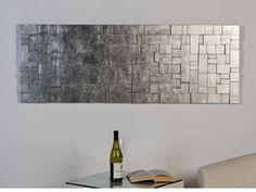 Mat zilver breed houten design wanddecoratie