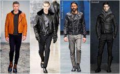 Фото мужская мода зима весна коричневые джинсы куртки