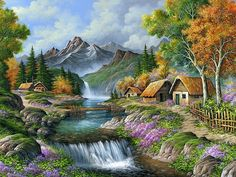 Ideas For Diy Art Pictures Paint Scenery Paintings, Nature Paintings, Beautiful Paintings, Beautiful Landscapes, Beautiful Scenery, Watercolor Landscape, Landscape Art, Landscape Paintings, Waterfall Drawing