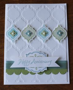 Anniversary Card using Stampin' Up's! Baja Breeze and Pear Pizzazz inks and mosaic madness stamps, coordinating punch and embossing folder