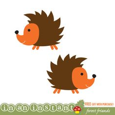 Hedgehog Vinyl Wall Decal for a Woodland or Forest Friends Nursery, Kids, Childrens Room. $15.00, via Etsy.