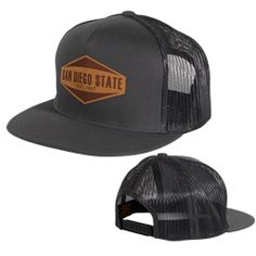 8ae5942cb Adjustable snapback trucker mesh cap with flat bill, featuring a San Diego  State leather tag