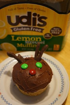 Easy Rudolph Muffins with Udi's Gluten Free Lemon Streusel Muffins!