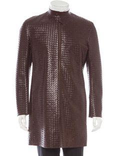 Bottega Veneta Intrecciato Leather Coat