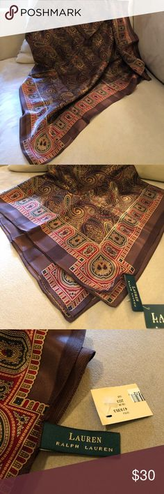 Ralph Lauren 100% silk scarf Beautiful paisley scarf in deep chocolate browns with red,blue, gold designs. New. Never worn. Partial tag. Ralph Lauren Accessories Scarves & Wraps