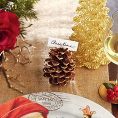 DIY Gold Gilded Pinecone Place Card Holder
