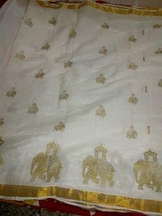 Kerala saree with elephant design
