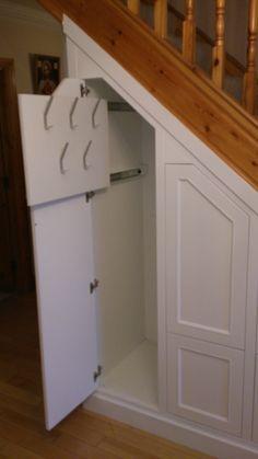 Staircase Banister Ideas, Timber Staircase, Staircase Design, Under Stairs Cupboard Storage, Stairway Storage, Stairs In Kitchen, Hallway Flooring, Basement Furniture, Stair Decor