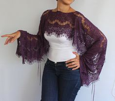 Top Lace Tunic Shrug - Capelet in Eggplant Purple Lightweight Lace. Handmade No pattern. Kimono Shrug, Lace Tunic, African Blouses, Sleeves Designs For Dresses, Bridal Shawl, Eggplant Purple, Capelet, Pinterest Fashion, Purple Lace