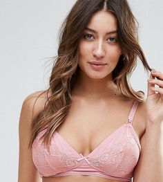 90972aa1042da ASOS MATERNITY Julia Soft Jersey   Lace Non-Wired Nursing Bra - Pink
