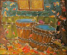 my painting, old buckets, batik, painting on silk Art Night, Silk Painting, Buckets, Contemporary Artists, Textile Art, Original Art, Textiles, Architecture, Design