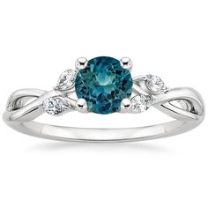 Sapphire Willow Diamond Ring (1/8 ct. tw.) in 18K White Gold with 5.5mm Round Teal Sapphire
